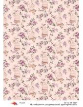 """Рисовая бумага R-A4-0019 """"Плетистые розы и клетки"""", формат А4, ProArt (Россия)"""