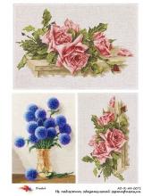 """Рисовая бумага R-A4-0071 """"Розы вышивание крестиком"""", формат А4, ProArt (Россия)"""