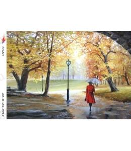 "Рисовая бумага R-A5-0015 ""Осенний парк"", формат А5, ProArt (Россия)"