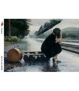 "Рисовая бумага R-A5-0030 ""Девушка на перроне"", формат А5, ProArt (Россия)"