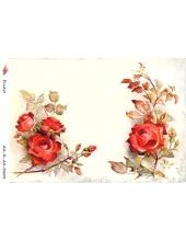 """Рисовая бумага R-A5-0205 """"Красные розы"""", формат А5, ProArt (Россия)"""