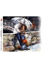 """Рисовая бумага R-A5-0356 """"Влюбленные под зонтом"""", формат А5, ProArt (Россия)"""