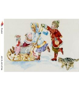"""Рисовая бумага R-A5-0746 """"Дети на санках"""", формат А5, ProArt (Россия)"""