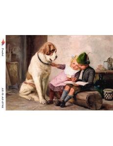"""Рисовая бумага R-A5-0748 """"Дети и собака"""", формат А5, ProArt (Россия)"""