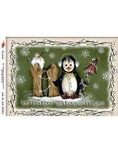 """Рисовая бумага R-A5-0882 """"Пингвин и снеговик"""", формат А5, ProArt (Россия)"""