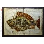 "Рисовая бумага R-A5-1245 ""Стимпанк рыба"", формат А5, ProArt (Россия)"