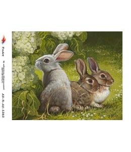 """Рисовая бумага R-A5-1262 """"Кролики"""", формат А5, ProArt (Россия)"""