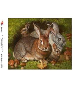 """Рисовая бумага R-A5-1264 """"Крольчиха с крольчатами"""", формат А5, ProArt (Россия)"""