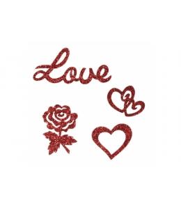 """Аппликации тканевые с глиттером """"Любовь, сердечки, розочки"""" 2,5-5,5 см, Rayher"""