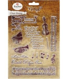 """Набор силиконовых штампов """"Старинная музыка"""", Rayher"""