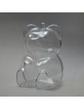 Заготовка ёлочной игрушки Медведь, прозрачный пластик, 10 см
