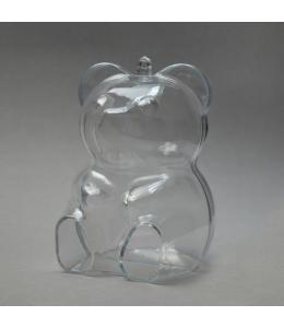 Заготовка ёлочной игрушки Медведь, прозрачный пластик, 10 см, Германия