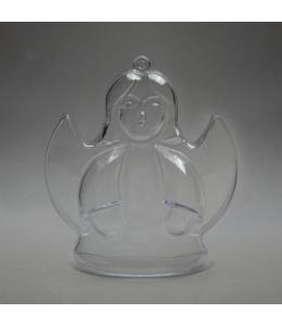 Заготовка ёлочной игрушки Ангел, прозрачный пластик, 10 см, Германия