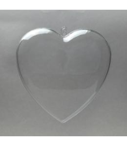 Заготовка ёлочной игрушки Сердце, прозрачный пластик, 10 см