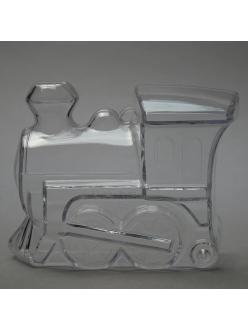 Заготовка ёлочной игрушки Паровоз-копилка, прозрачный пластик, 11 см