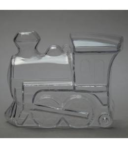 Заготовка ёлочной игрушки Паровоз-копилка, прозрачный пластик, 11 см, Schiller-plastic (Германия)