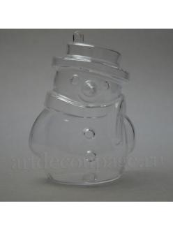 Заготовка фигурка Снеговик, прозрачный пластик, 10 см