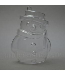 Заготовка фигурка Снеговик, прозрачный пластик, 10 см, Германия
