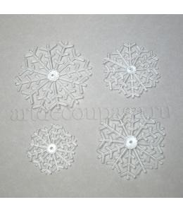 Заготовки фигурки Снежинки, прозрачный пластик, 8 шт