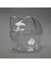 Заготовка ёлочной игрушки Свинья-копилка, прозрачный пластик, 10 см, Германия