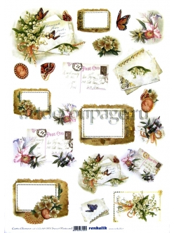 Декупажная карта с  золотым тиснением Renkalik Милые открытки, 35х50 см