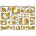 Декупажная карта с  золотым тиснением Желтые розы в рамочках, 35х50 см, Renkalik