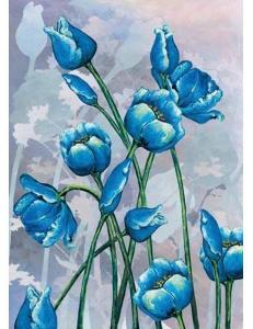 """Рисовая бумага для декупажа Renkalik 028M """"Синие тюльпаны"""", 50х70 см"""