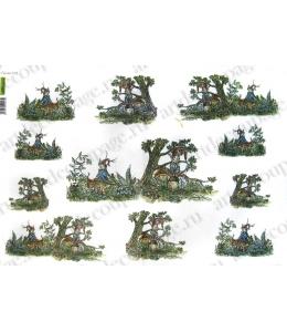 Рисовая бумага для декупажа Renkalik Гномы, 35х50 см
