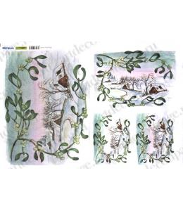 Рисовая бумага для декупажа Renkalik Зимний домик, 35х50 см