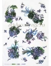 Рисовая бумага для декупажа Renkalik Фиалки душистые, 35х50 см