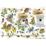 Рисовая бумага для декупажа Renkalik Весна, скворечник и кролики, 35х50 см