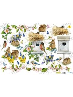 Рисовая бумага для декупажа Весна, скворечник и кролики, 35х50 см, Renkalik