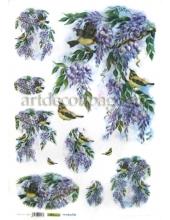 Рисовая бумага для декупажа Renkalik Глициния и птичка, 35х50 см