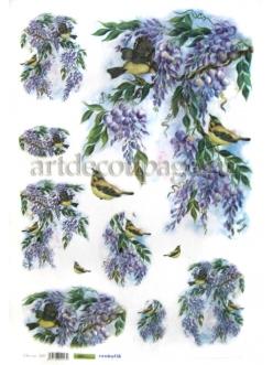 Рисовая бумага для декупажа Глициния и птичка, 35х50 см, Renkalik