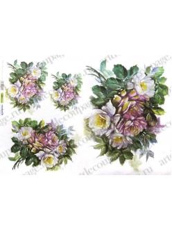 Рисовая бумага для декупажа Розовые и белые розы, 35х50 см, Renkalik