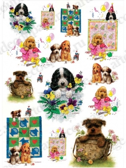 Рисовая бумага для декупажа Забавные щенки, 35х50 см, Renkalik