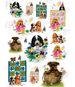 Рисовая бумага для декупажа Renkalik Забавные щенки, 35х50 см