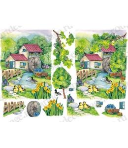 Рисовая бумага для декупажа Renkalik Мельница в лесу, 3D, 35х50 см
