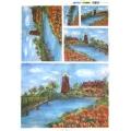 Рисовая бумага для декупажа Renkalik Пейзаж с мельницей, 35х50 см
