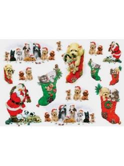 Рисовая бумага для декупажа Renkalik Санта, котята и щенки, 35х50 см
