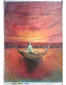 """Рисовая бумага для декупажа Renkalik 180 """"Африка. Лодка в море"""", 35х50 см"""