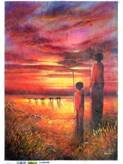 Рисовая бумага для декупажа Африка, Поколения масаев, 35х50 см, Renkalik