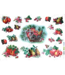 Рисовая бумага для декупажа Renkalik Корзины с цветами и фруктами, 35х50 см