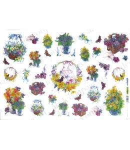 Рисовая бумага для декупажа Renkalik Корзины с цветами, 35х50 см