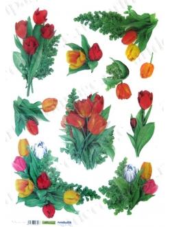 Рисовая бумага для декупажа Тюльпаны, 35х50 см, Renkalik