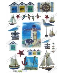 Рисовая бумага для декупажа Renkalik Морской берег, маяк, 35х50 см