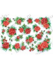 Рисовая бумага для декупажа Renkalik Красные розы, 35х50 см