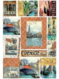 Рисовая бумага для декупажа Венеция, 35х50 см, Renkalik