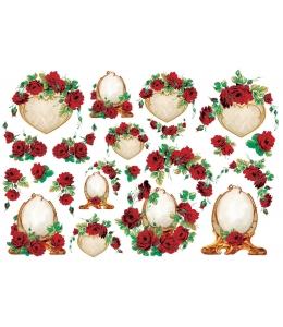 """Рисовая бумага для декупажа Renkalik 214 """"Красные розы, рамочки"""", 35х50 см"""