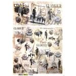 """Рисовая бумага для декупажа Renkalik 222 """"Высокая мода, Париж"""", 35х50 см"""